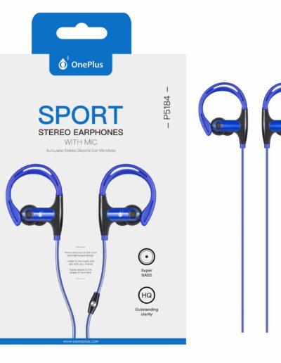 auricular cable sport azul