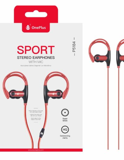 auricular cable sport rojo